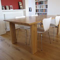 Oak dining table with wenge detail